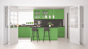 Scandinavian classic kitchen with wooden and green details, mini Royalty Free Stock Images