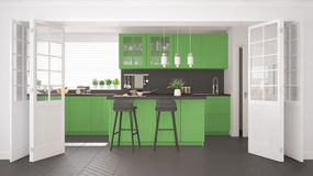 Scandinavian classic kitchen with wooden and green details, mini Royalty Free Stock Photography