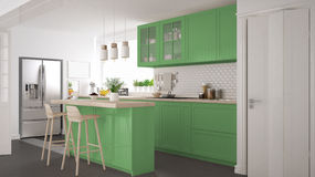 Scandinavian classic kitchen with wooden and green details, mini Stock Photo
