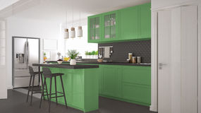 Scandinavian classic kitchen with wooden and green details, mini Stock Photos
