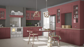 Scandinavian classic kitchen with wooden and red details, minima Stock Photography