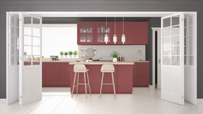 Scandinavian classic kitchen with wooden and red details, minima Royalty Free Stock Photo