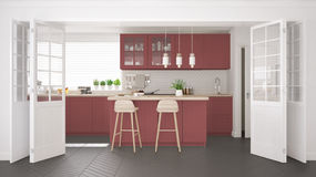 Scandinavian classic kitchen with wooden and red details, minima Stock Image