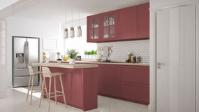 Scandinavian classic kitchen with wooden and red details, minima Stock Photos
