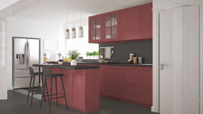 Scandinavian classic kitchen with wooden and red details, minima Stock Photo