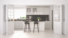 Scandinavian classic kitchen with wooden and white details, mini Stock Photos