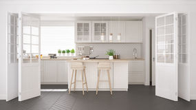 Scandinavian classic kitchen with wooden and white details, mini Stock Photo