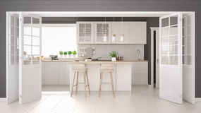 Scandinavian classic kitchen with wooden and white details, mini Stock Images