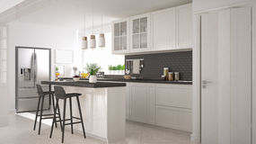 Scandinavian classic kitchen with wooden and white details, mini Royalty Free Stock Photos