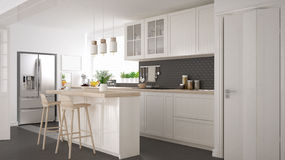 Scandinavian classic kitchen with wooden and white details, mini Royalty Free Stock Image