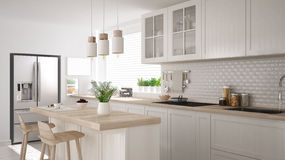 Scandinavian classic kitchen with wooden and white details, mini Royalty Free Stock Photo