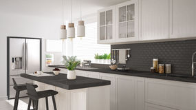 Scandinavian classic kitchen with wooden and white details, mini Royalty Free Stock Images