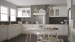 Scandinavian classic white kitchen with wooden details, minimali Royalty Free Stock Photo