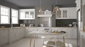 Scandinavian classic white kitchen with wooden details, minimali Stock Photography