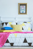 Scandinavian colorful bedroom interior inspiration Royalty Free Stock Image