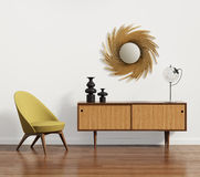 Scandinavian console table with armchair and mirror Royalty Free Stock Photography