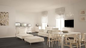 Scandinavian contemporary living room open space with dining table, sofa and chaise longue, office, home workplace with computers,. Minimal modern white and royalty free stock photo