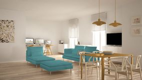 Scandinavian contemporary living room open space with dining table, sofa and chaise longue, office, home workplace with computers,. Minimal modern blue and royalty free stock image
