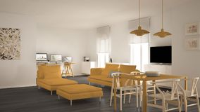 Scandinavian contemporary living room open space with dining table, sofa and chaise longue, office, home workplace with computers,. Minimal modern yellow and royalty free stock images