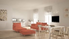 Scandinavian contemporary living room open space with dining table, sofa and chaise longue, office, home workplace with computers,. Minimal modern white and red royalty free stock images