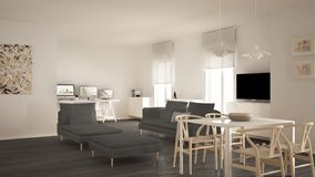Scandinavian contemporary living room open space with dining table, sofa and chaise longue, office, home workplace with computers,. Minimal modern white and royalty free stock images