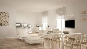 Scandinavian contemporary living room open space with dining table, sofa, pouf and chaise longue, corner office, home workplace wi. Th computers, minimal modern stock photos