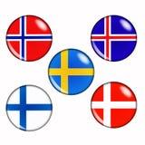 Scandinavian countries. Button flags of scandinavian countries Stock Photography