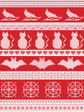 Scandinavian cross stitch, Nordic culture and traditional American holiday inspired seamless Halloween pattern with witch hat Stock Image
