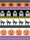Scandinavian cross stitch and traditional American holiday  inspired seamless Halloween pattern with cat, spider, ghost, heart, Royalty Free Stock Photos
