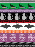 Scandinavian cross stitch and traditional American holiday  inspired seamless Halloween pattern with witch hat, spider web, heart Royalty Free Stock Image