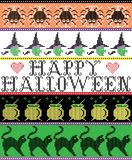 Scandinavian cross stitch and traditional American holiday inspired seamless Happy Halloween pattern with spider, web, witch Stock Images