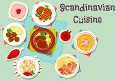 Scandinavian cuisine dish with berry dessert icon Stock Photos