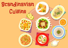 Scandinavian cuisine fish dishes icon design. Scandinavian cuisine fish dishes icon with vegetable fish salad, shrimp toast, noodle meat salad with pickles, pike Stock Photo