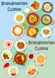 Scandinavian cuisine icon set with fish and meat Stock Images
