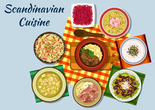 Scandinavian cuisine traditional lunch dishes. Scandinavian cuisine icon with norwegian beef stew, mushroom cream soup, pike roe sandwich and boiled lamb, dutch Stock Photos