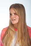 Scandinavian cute young girl. Irritated expressions Royalty Free Stock Image