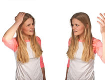 Scandinavian cute young girl. Irritated expressions Royalty Free Stock Images
