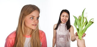 Scandinavian cute young girl irritated expressions with another Stock Images
