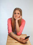 Scandinavian cute young girl looking irritated Stock Photo