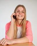 Scandinavian cute young girl  on the phone Stock Photos