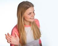Scandinavian cute young girl waving Royalty Free Stock Images
