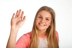 Scandinavian cute young girl waving Stock Photos