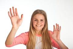 Scandinavian cute young girl waving Royalty Free Stock Photos