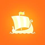 Scandinavian Drakkar on Orange Background Stock Photography