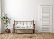 Free Scandinavian Farmhouse Hallway Interior, Wall Mockup Royalty Free Stock Photography - 189995867