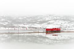 Scandinavian fisherman cabin on coast. Typical scandinavian red fisherman cabin on coast Royalty Free Stock Photos
