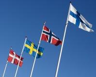 Scandinavian Flags Royalty Free Stock Photography