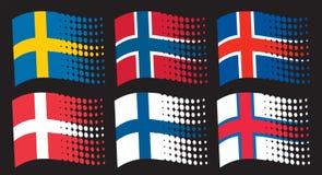 Scandinavian flags. Flag of sweden, flag of finland, flag of denmark, flag of iceland, flag of norway, flag of faroe islands Stock Photography