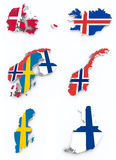 Scandinavian flags on 3d map. On white Royalty Free Stock Photo
