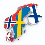 Scandinavian flags on 3d map. On white isolated Stock Image